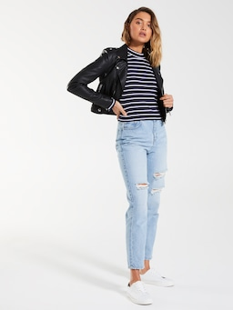 Long Sleeve Turtleneck Rib Top