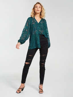 Burnout Puff Long Sleeve Top