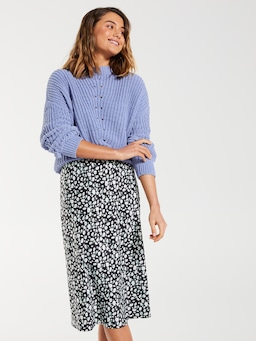 Belle Satin Slip Midi Skirt