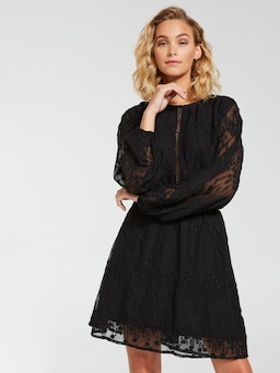 Embroidered Long Sleeve Mini Dress