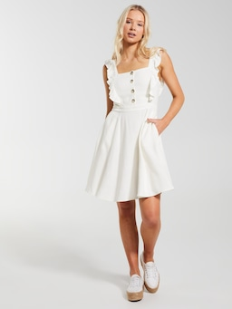 Linen Blend Emma Frill Skater Dress