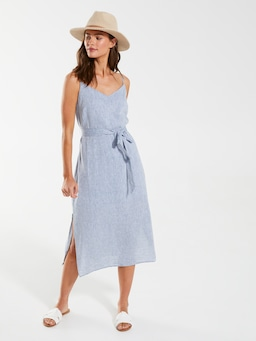 Linen Blend Column Midi Dress