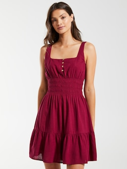 Linen Blend Jaz Shirred Mini Dress