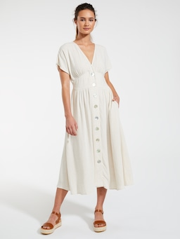 Linen Blend Sicily Button Through Midi Dress