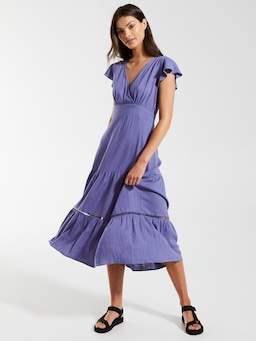 Linen Blend Mischa Midi Dress