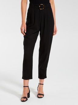 Linen Blend Tapered Buckle Pant
