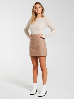 Faux Leather Seam Detail Mini Skirt