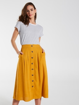 Linen Button Midi Skirt