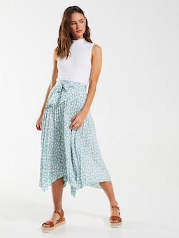 Asymmetric Pleat Midi Skirt