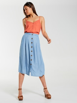 Button Through Midi Skirt