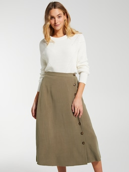 Linen Blend Poppy Side Button Midi Skirt