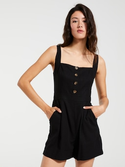 Linen Blend Lia Square Neck Playsuit