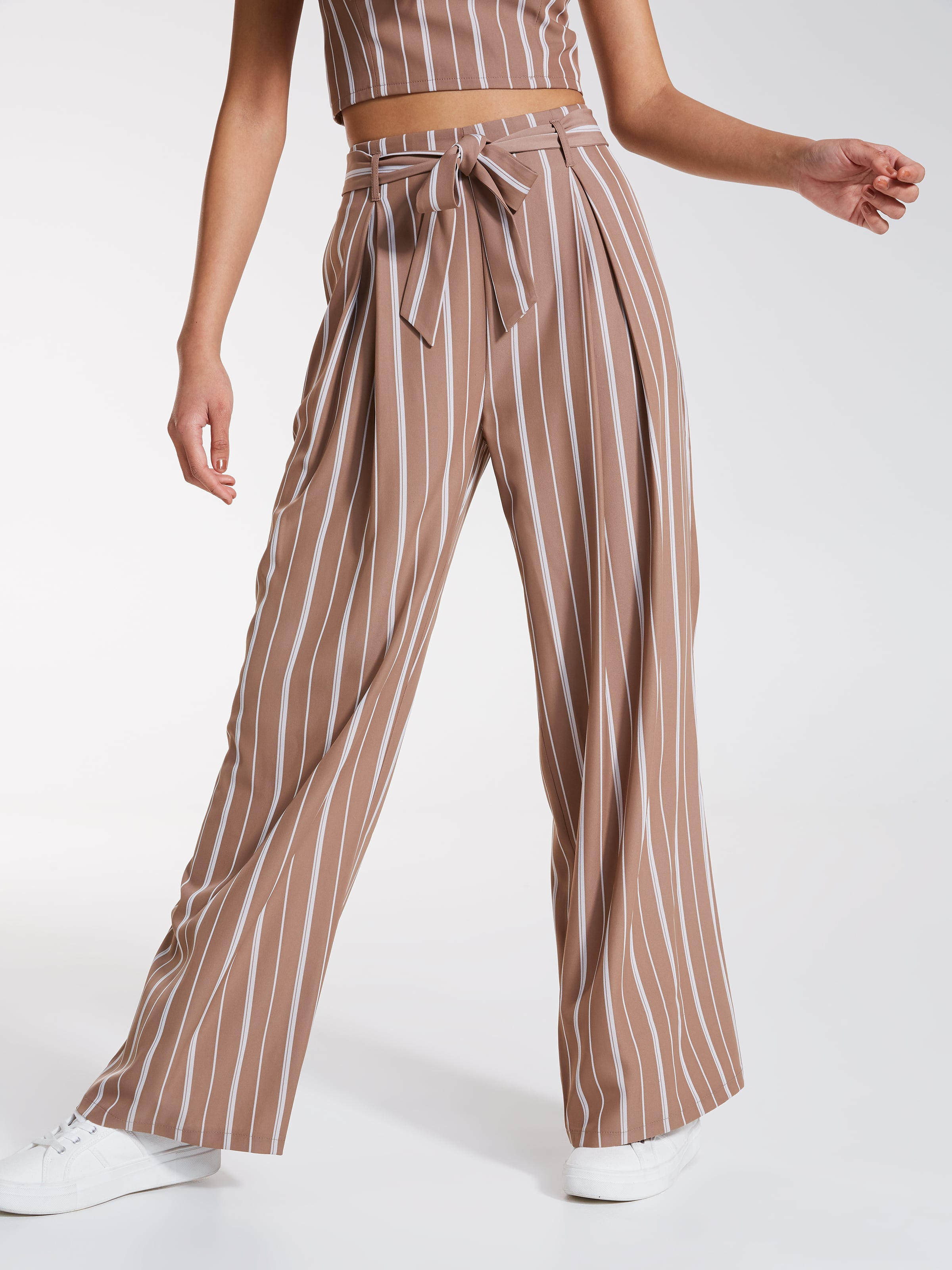 Pleat Front Stripe Palazzo Pant Dotti Online Jeans Woman 7 9 Mocca Image For From