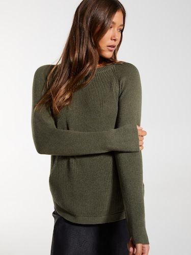 Zip Scoop Hem Cosy Knit