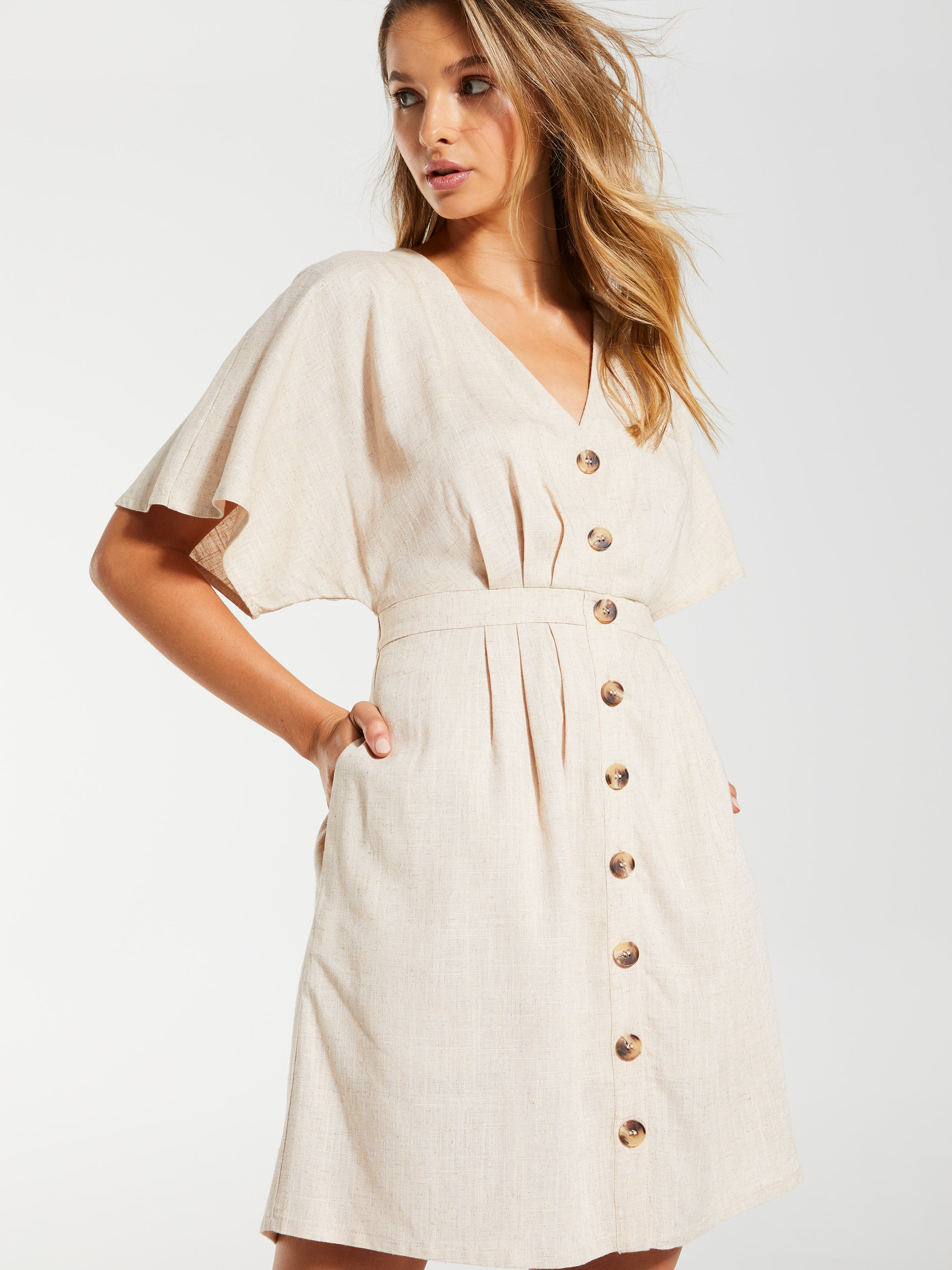Linen Blend Capri  Button Thru Skater Dress